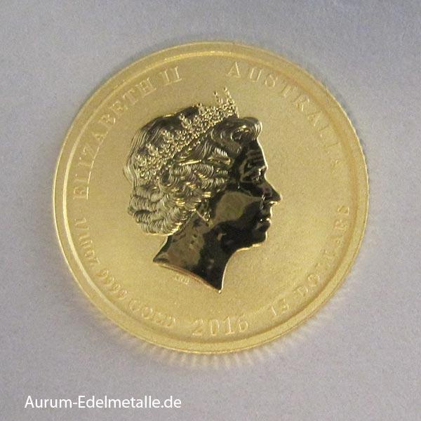 Australien Lunar II Goldmünze 1_10 oz Affe 2016