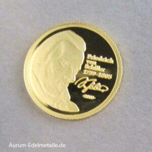 Togo 1500 Francs Goldmünze Schiller 2005