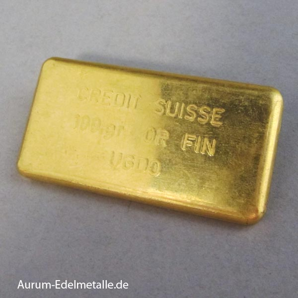 Goldbarren 100 g UGDO Credit Suisse