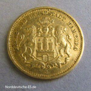 Deutschland Kaiserreich 5 Mark Freie und Hansestadt Hamburg 1877 J