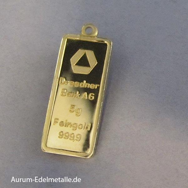 Goldbarren 5g als Anhänger