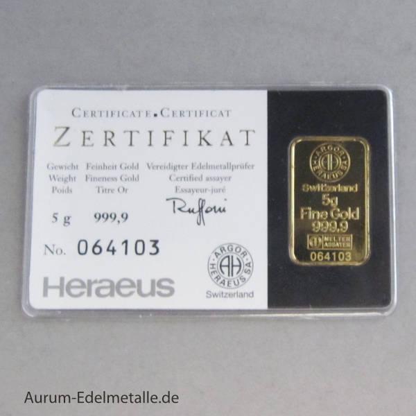 Kinebar 5 g Goldbarren Heraeus mit Hologramm