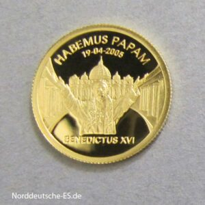 Republic of Liberia 25 Dollars 1_25 oz Papst Benedikt XVI Goldmünze 2005