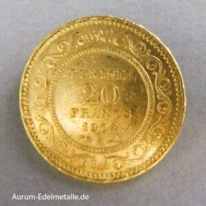 Tunesien 20 Francs Gold 1903-1906 Muhammad IV Al-Hadi