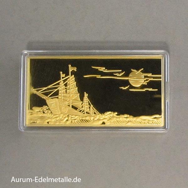 50g Goldbarren China mit Segelboot Cho Tai Fook