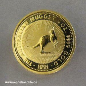 Australien Kangaroo Nugget 1/4oz Gold 25 Dollars 1991