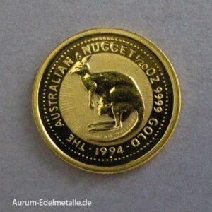 Australien Nugget Kangaroo 1/20 oz Feingold 1994