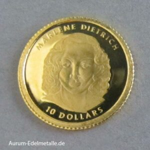 Liberia 10 Dollars Marlene Dietrich 2001