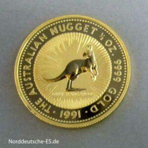 Australien 1/2 oz Kangaroo Nugget Goldmünze 1991