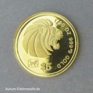 Singapur 5 Dollars Goldmünze Löwe 1994