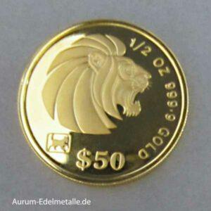Singapur 50 Dollars Goldmünze Löwe 1994