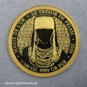 Afrika Kongo 100 Francs Der Schatz des Priamos 2020 Minigoldmünze