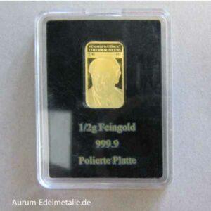 Goldbarren 0_5 g Feingold Bundespräsident Theodor Heuss