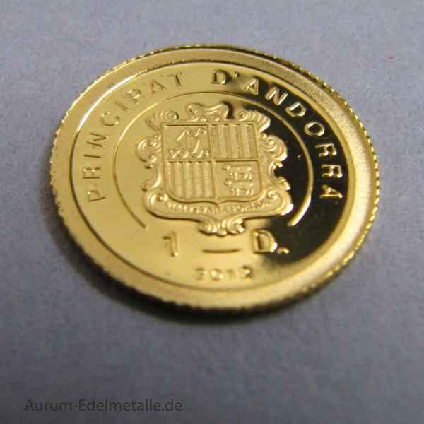 Andorra 1 Diner Goldmünze 2012 PP