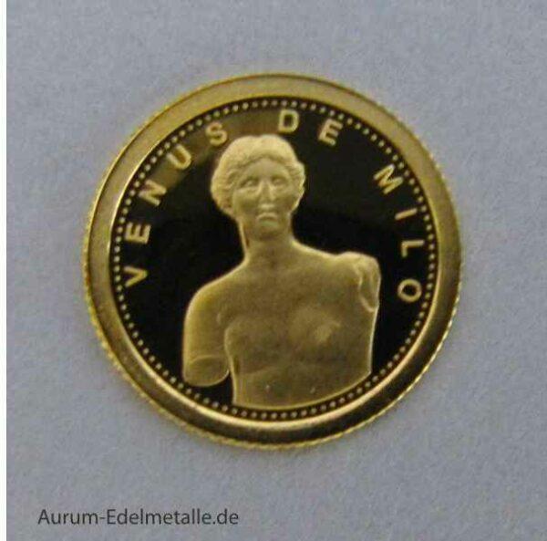 Goldmünze Andorra 1 Diner Venus von Milo 2012