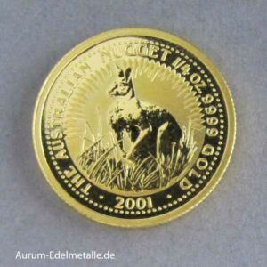 Australien 1_4 oz Nugget Kangaroo Feingold 25 Dollars 2001