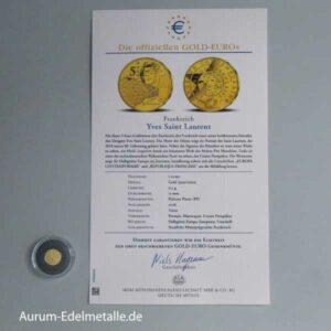 Frankreich 5 Euro Yves Saint Laurent Gold Euro 2016 mit Zertifikat