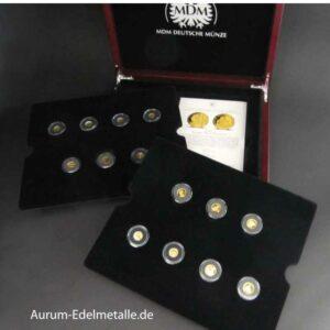Die offiziellen GOLD-EUROs 14 Goldmünzen im Set mit Zertifikat in OVP Holzbox Div Jahrgänge