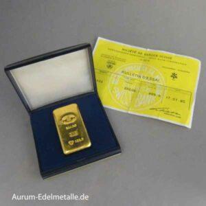 Goldbarren 250g historischer Gussbarren SBS Swiss Bank 9999 Feingold