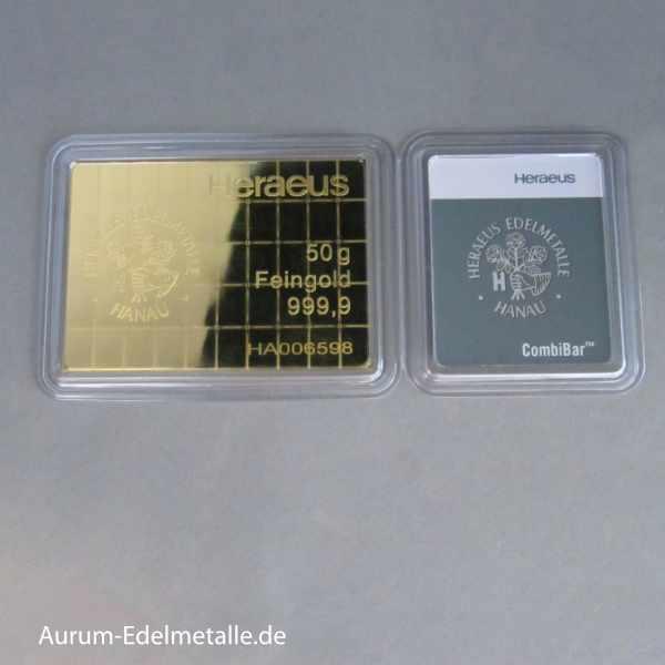 Heraeus 50 x 1 Gramm CombiBar Feingold 9999 im Original Blister