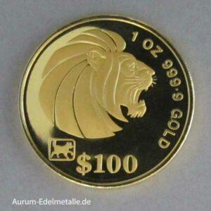 Singapur 100 Dollars Goldmünze Löwe 1994 Lion Gold Coins 1 OZ
