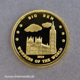 Korea 10 Won Big Ben 2010 Goldmünze Wonders of the World