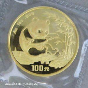 China Panda 1 OZ Gold 100 Yuan 1994
