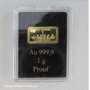 Kleiner Goldbarren 1g Feingold Münze Berlin Gold Quadriga