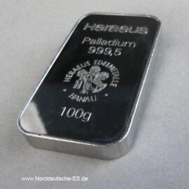 100-g-Palladiumbarren