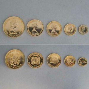 Jersey 50 25 20 10 und 5 Pounds Goldmünzen Set 1972 Silberhochzeit Elisabeth und Philip