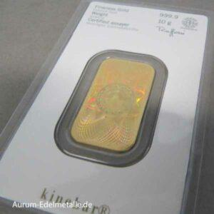 Kinebar 10 g Goldbarren Heraeus mit Hologramm