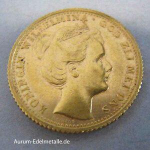 Goldmünze Wilhelmina 10 Gulden 1898
