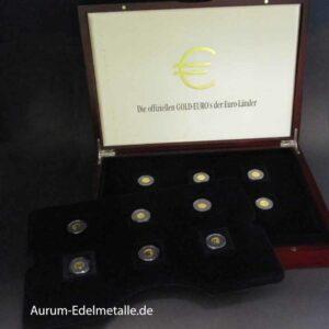 Die offiziellen GOLD-EURO-Gedenkmünzen 12 Goldmünzen mit Zertifikat in OVP Holzbox Exklusiv-Collection