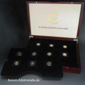 Die offiziellen GOLD-EUROs 12 Goldmünzen im Set mit Zertifikat in OVP Holzbox