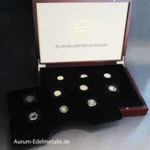 Die offiziellen GOLD-EUROs 12 Goldmünzen im Set mit Zertifikat in OVP Holzbox Exklusiv-Collection