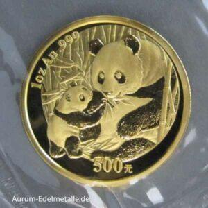 China Panda 1 Unze Feingold 500 Yuan 2005