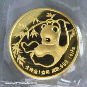 China Panda 100 Yuan Goldmuenze 1 Unze Feingold 1985