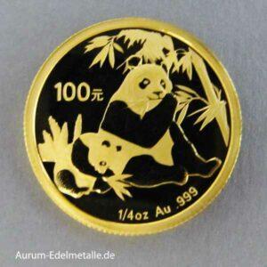 China Panda Goldmünze 1_4 oz 100 Yuan 2007