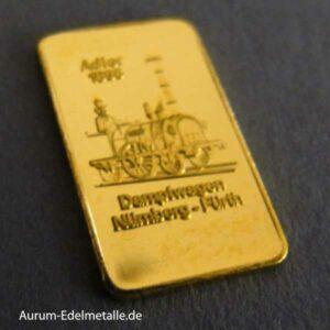 Goldbarren 1g Heraus Adler Dampfwagen Nürnberg-Fürth