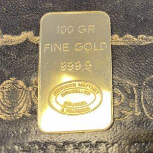 Johnson & Matthey Goldbarren 100g 999.9