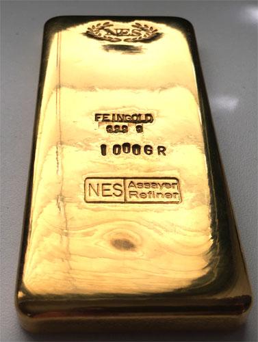 Goldbarren Feingold 9999 Norddeutsche ES 1Kilogramm