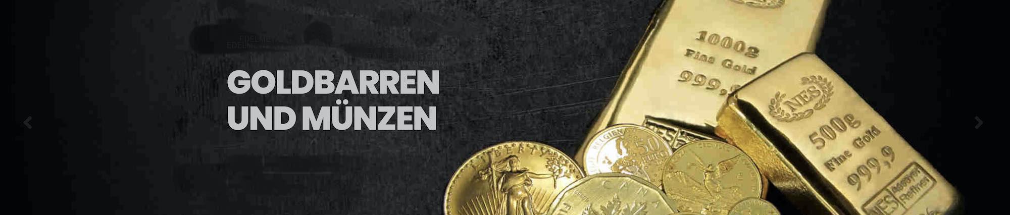 Goldbarren und Goldmünzen