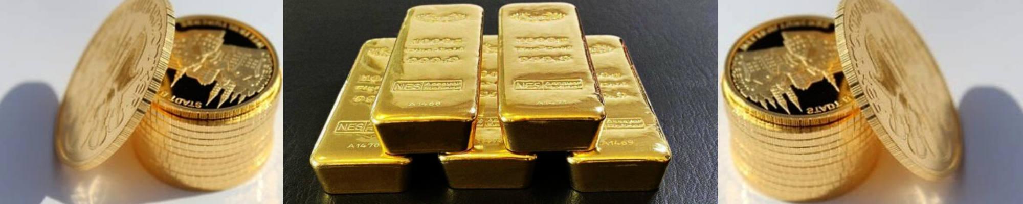 Goldmuenzen und Barren